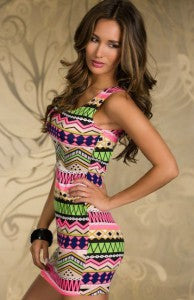 Tank Top Ethnic Print Mini Length Bodycon Dress Style Code: 15043 $19.50