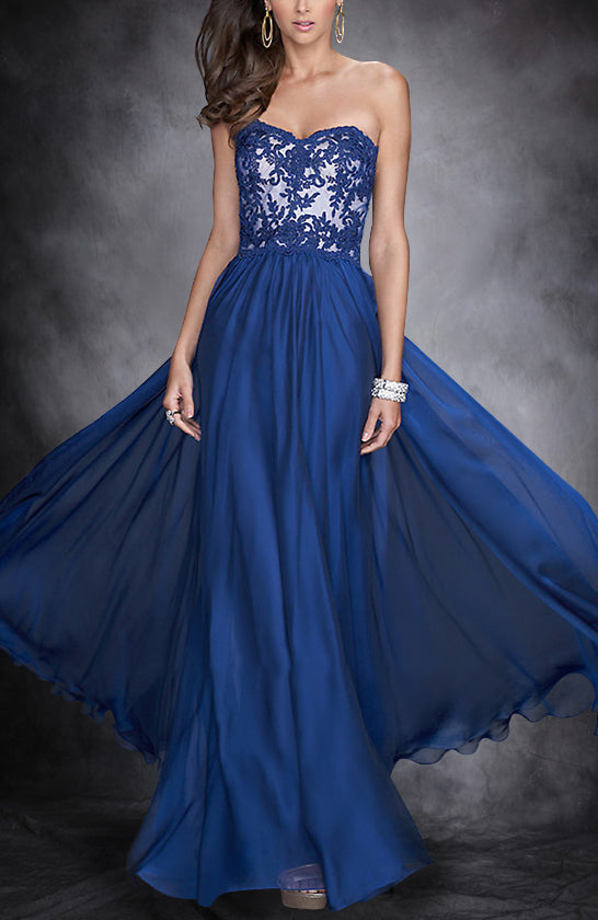 Applique Embellished Light Chiffon Prom Dress Style Code: 15783 $117