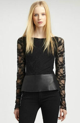 Pu Leather Trim Lace Tops