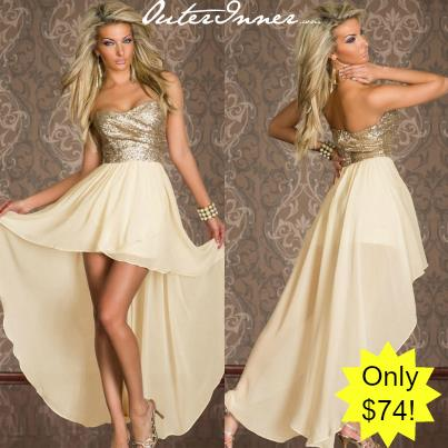 Sweetheart Neck Sequined Top Hi-Lo Dress Style Code: 15008 Now $37