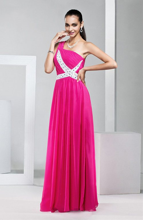 One Shoulder Ruching Gown