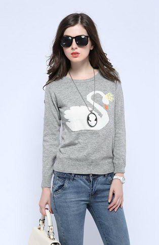 Cashmere Blend Swan Sweater