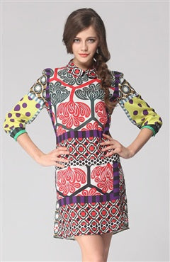 Contrast Print Mid Sleeve Column Dress, Style Code: 08406, US$99.00