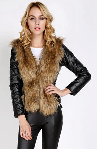 Fur Collar Leather Coat