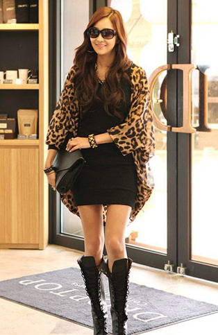 Leopard Print Long Sleeve Chiffon Shirt