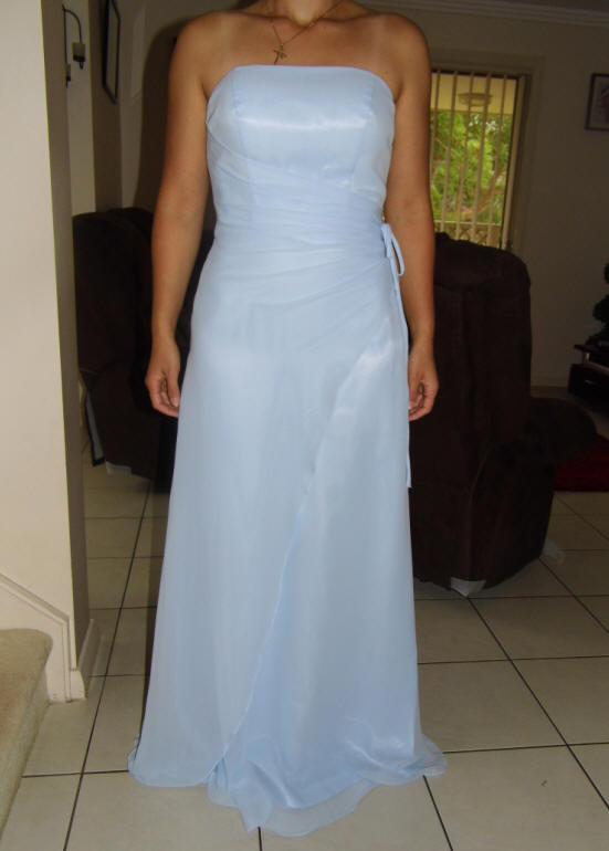 Ice blue A-line Floor-length Strapless Bridesmaid Dresses