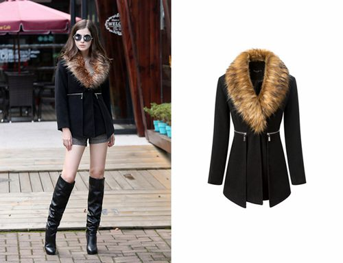 Fur Collar Zipper Winter Coat