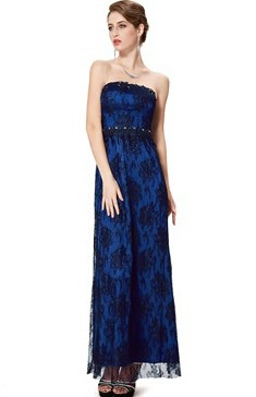 Strapless Lace Long Evening Dress