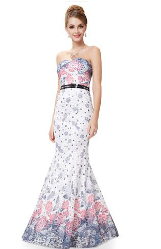 Floral Print Belted Lace Prom Dresses