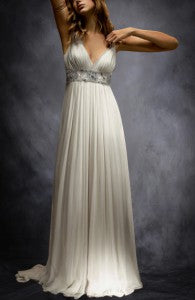 Embroidery Contrast Waistband V Back A-line Wedding Gown Style Code: 12503 $495