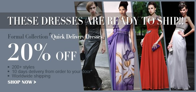 20% off quick delivery dresses sale banner