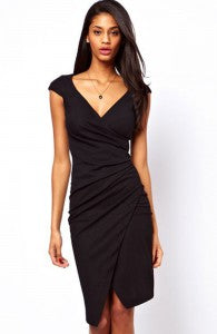 V-Neck Ruched Asymmetrical Hem Bodycon Dress Style Code: 15029 Now $24.50