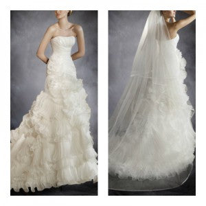 Strapless Sheath Organza Wedding Gown With Ruffles Style Code: 05030 $299