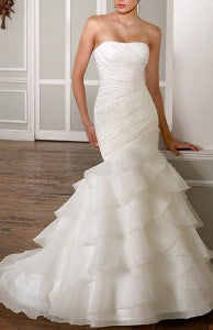 Elegant Organza Satin One Shoulder Tiered Mermaid Wedding Dress Style Code: 13675 $229