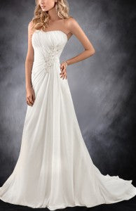 A-line Applique Beaded Gathered Waist Wedding Gown Style Code: 05908 Now $159