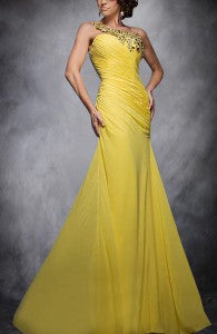 Chiffon Applique One Shoulder Graduation Prom Style Code: 05667