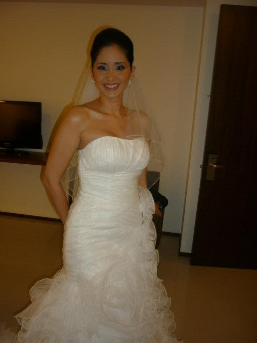 Angelica wearing her outerinner wedding dress