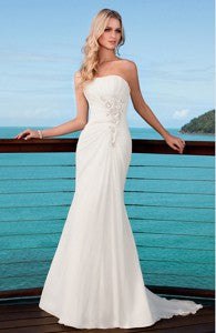 Slinky Applique Gathered Wedding Gown Style Code: 05912 $159
