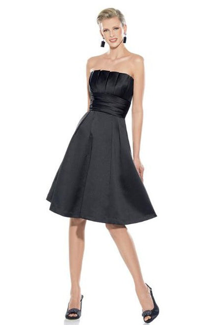 A-line Strapless Knee-length Satin Little Black Dresses. Style Code: 05355. US$79