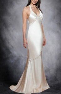 Silk-like Satin Flowing Halter Destination Wedding Dress Style Code: 00983 $119