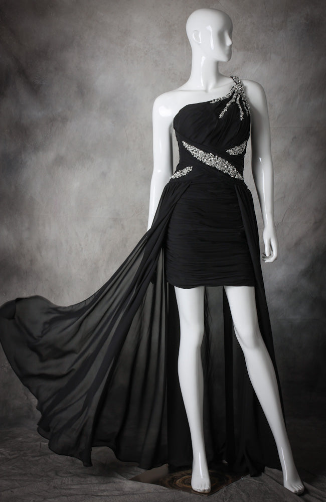 Asymmestrical Hi-Lo Overskirted Prom Dress. Style Code: 10448. US$152