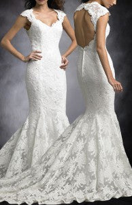 Queen Anne Mermaid Keyhole Back Lace Wedding Dress Style Code: 08928 $264