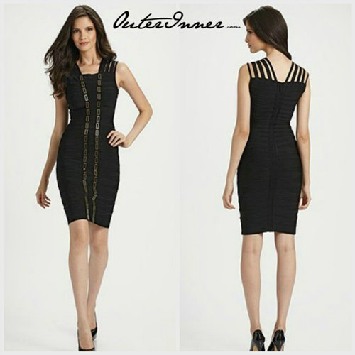 Beading Sheath Straps Knee-Length Bandage Dress. Style Code: 10839. US$96