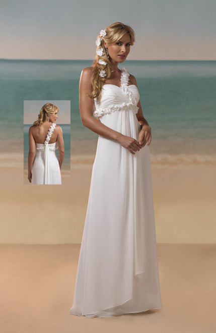 Chiffon Floral Shoulder&Waist Ruffles Wedding Dress. Style Code: 08912