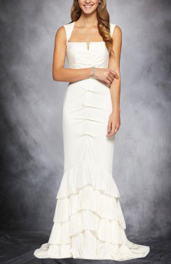 Cut Out Back Tiered Soft Mermaid Wedding Dress. Style Code: 11295. US$219