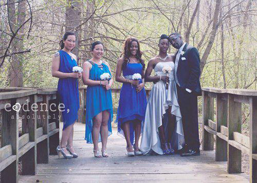 Dawnettes bridal party and wedding gown