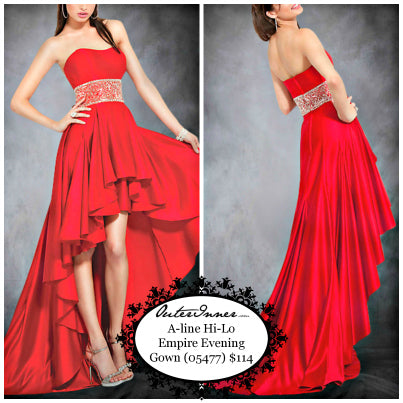 Gentle Sweetheart Empire Waist Asymmetrical Hem Evening Wear, Style Code: 05477, $114