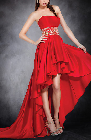 Gentle Sweetheart Empire Waist Asymmetrical Hem Evening Wear. Style Code: 05477. US$114