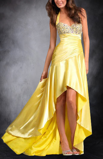Halter Beaded Breast Asymmetrical Hemline Evening Wear. Style Code: 05525. US$124