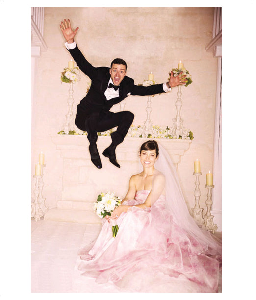 Jessica Biel Giambattista Valli pink wedding dress 2012
