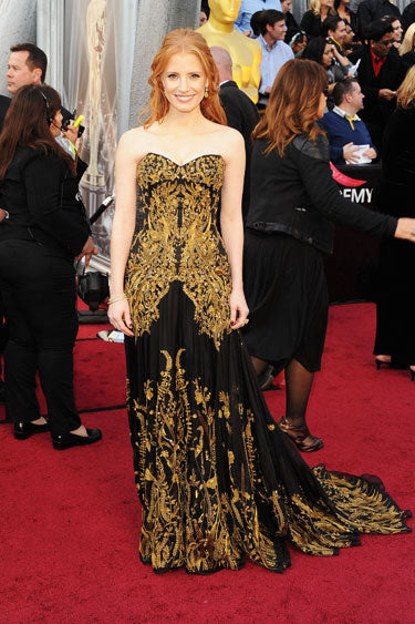 Jessica Chastain in black Alexander McQueen gown