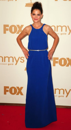 Katie Holmes nave blue formal dress