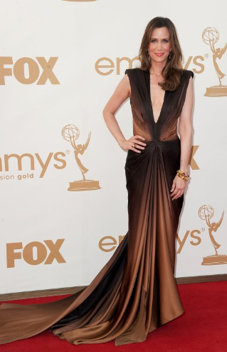Kristen Wiig at emmy's-sleeveless brush train black tie event dress