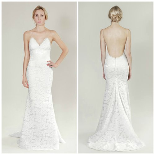 Lace Backless V Neck Wedding Gown. Style Code: 10294. US$309