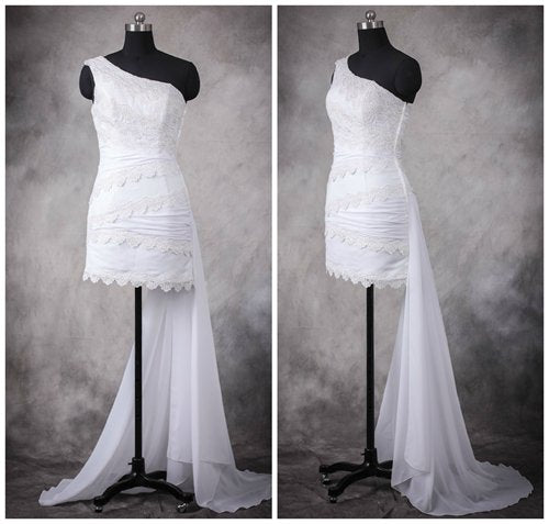 Lace One Shoulder Short Wedding Dress with Back Sash. Style Code: 10955. US$109