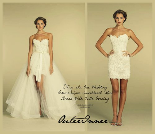 Two In One Wedding Dress - Lace Sweetheart Mini Dress With Tulle Overlay. Style Code: 08514. US$189.00