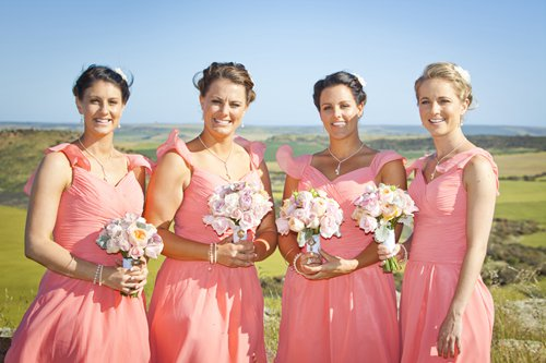 Kate's BMs wearing their bridesmaid dresses