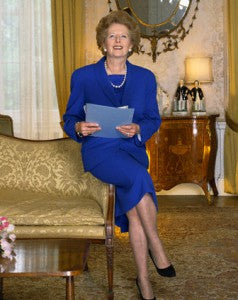 Margaret Thatcher in Blue Wool Suit