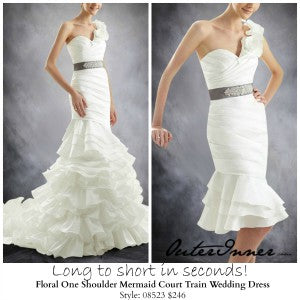 Floral One Shoulder Mermaid Court Train Wedding Dress Style Code: 08523 $246 | money saving wedding tips