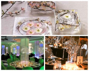 Crystal decorated wedding tables