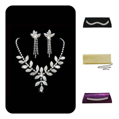 Prom Earrings,neckalace and clutch
