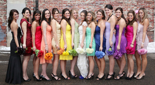rainbow wedding colors bridesmaid dresses
