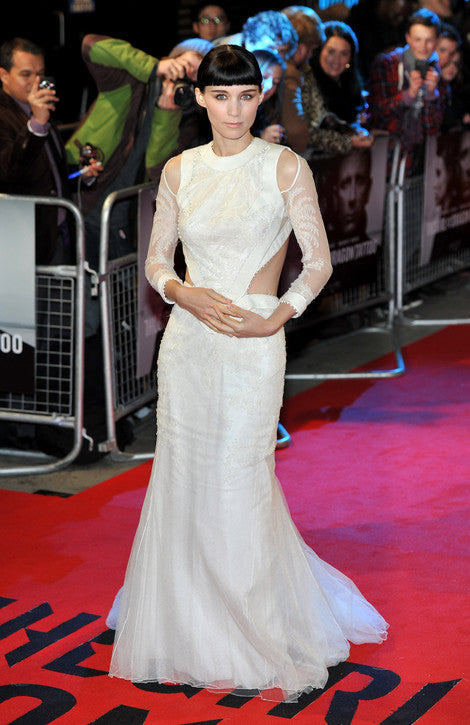 rooney mara white evening dress front