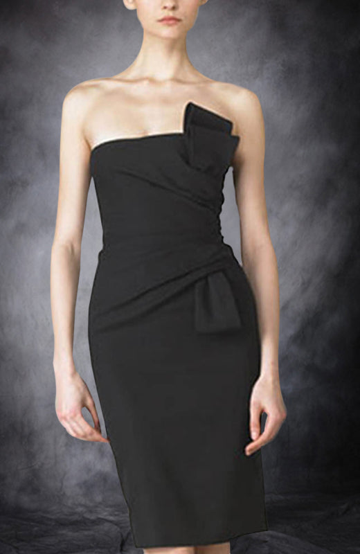 Ruffles Short Strapless Sheath Little Black Dresses. Style Code: 00182. US$69