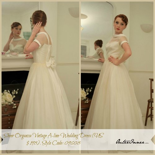 Sheer Organza Vintage A-line Wedding Dress. Style Code: 09608. US$198