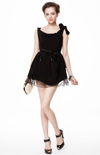 Shoulder Tied Cowl Neck LBD Dress. Style Code: 08630. US$145